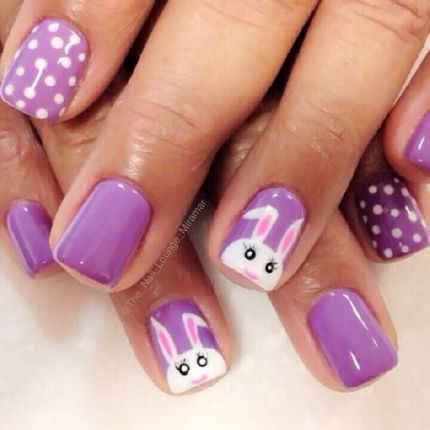 short purple bunny nails