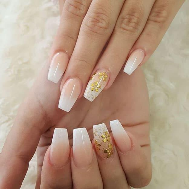 soft golden flowers nails