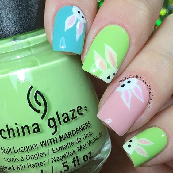 vibrant bunny nails