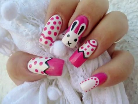 white and pink bunny nails