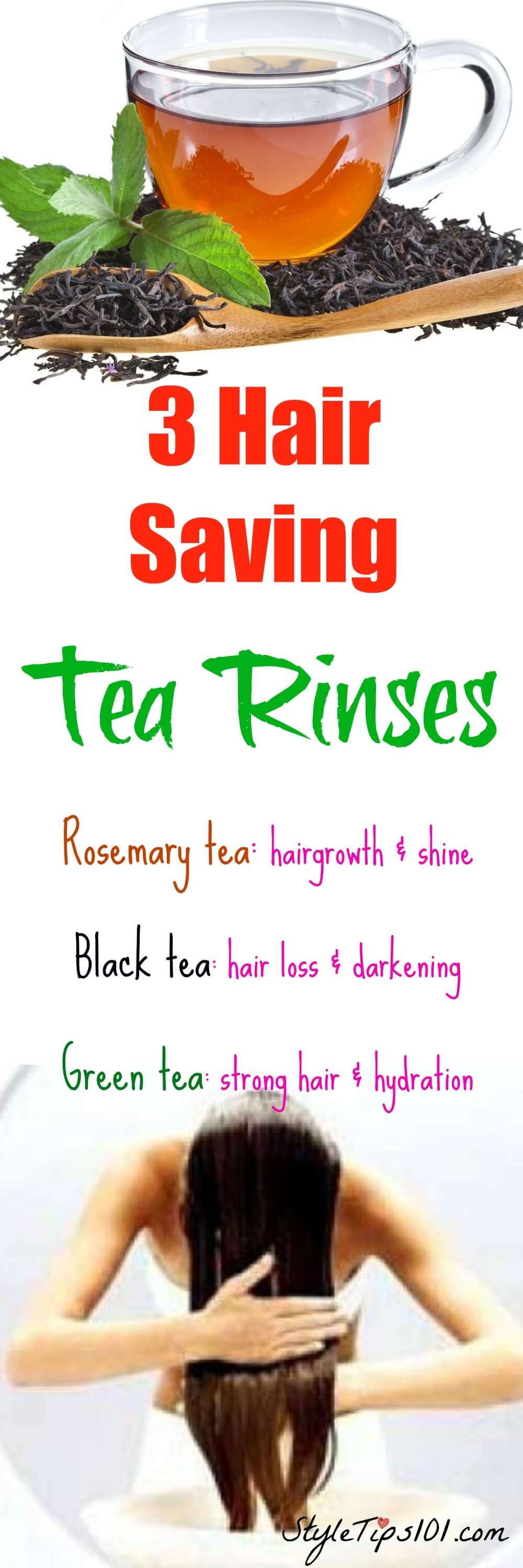 Tea hair rinses