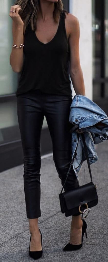 black leather skinny pants