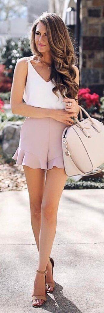 blush ruffle shorts
