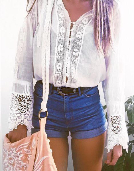 boho top and shorts