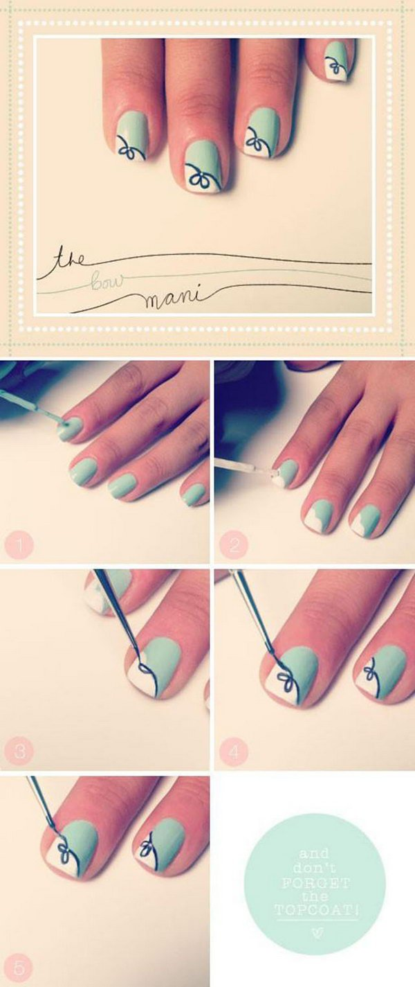 bow art nail tutorial