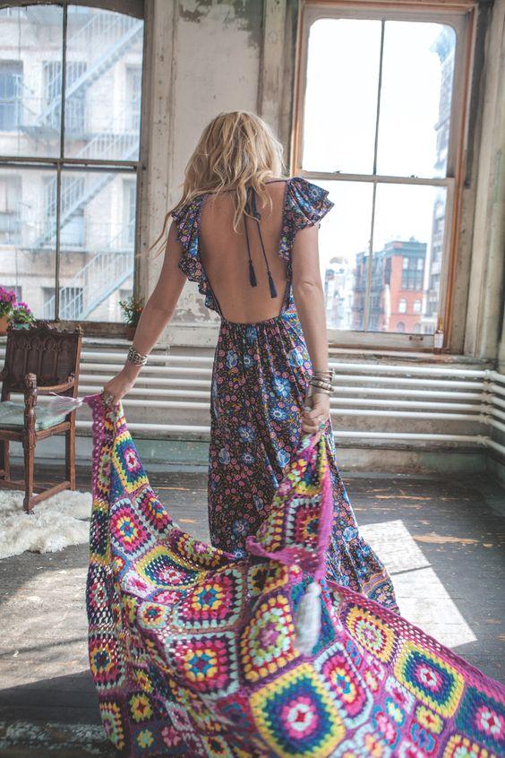 colorful boho dress