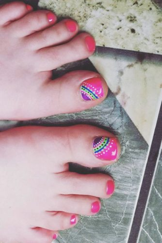 colorful toe nail design