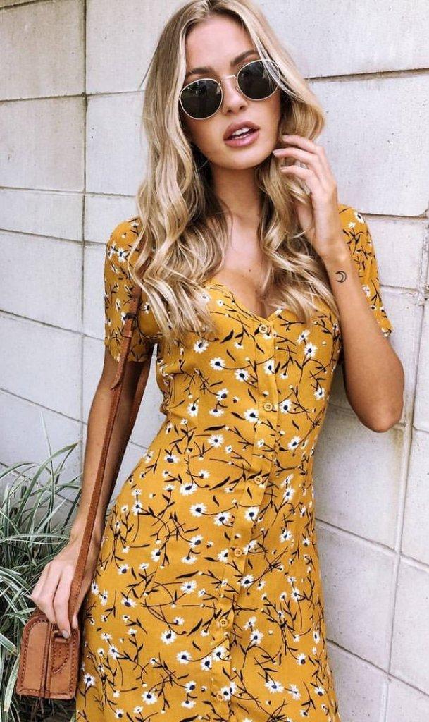 mustard print dress
