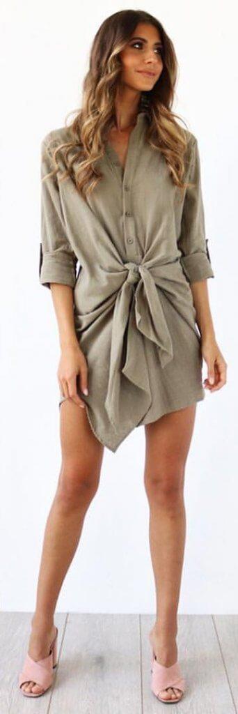 olive bow dress