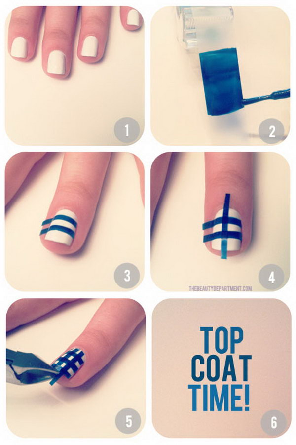 plaid nail tutorial