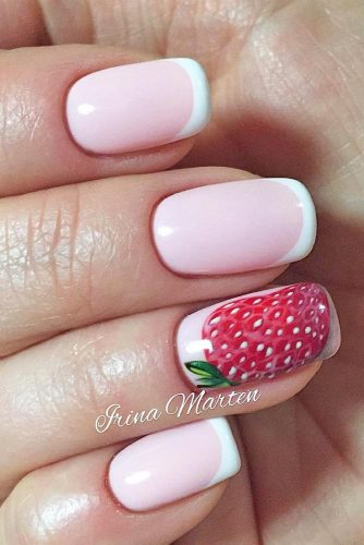 strawberry accent nails