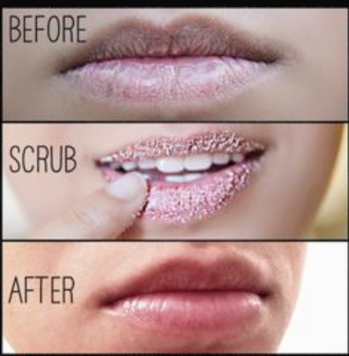 before and after lips scrub