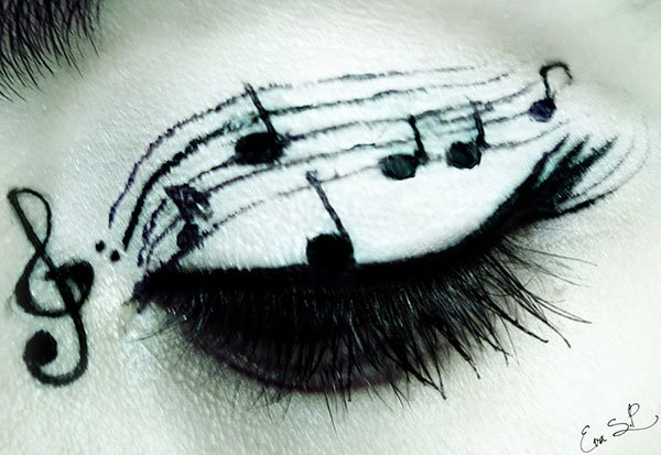 music notes eye makeup