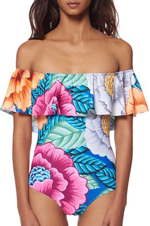off the shoulder ruffle one piece bikini