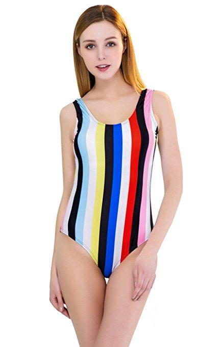 striped one piece bikini