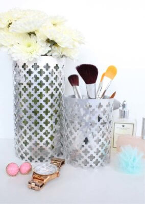 aluminum vase makeup holder