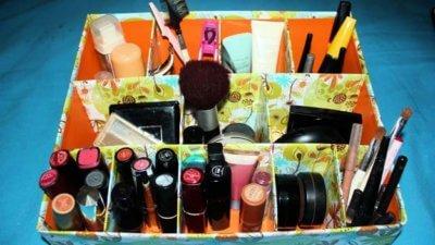 cardboard makeup organize