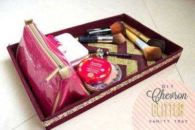 chevron glitter vanity tray
