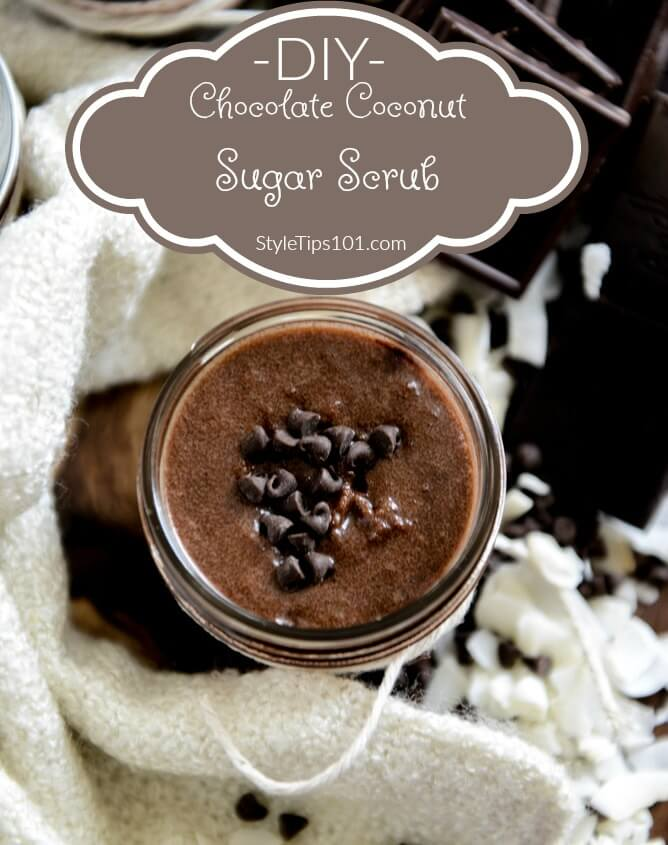 1 cup brown sugar 1/2 cup coconut oil 1/3 cup almond oil 2 tbsp unsweetened cocoa powder few drops of coconut extract or essential oil
