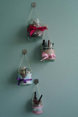 hanging makeup jars