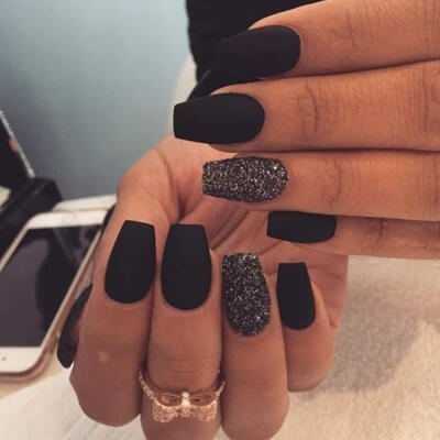 Black And Silver Matte Nails