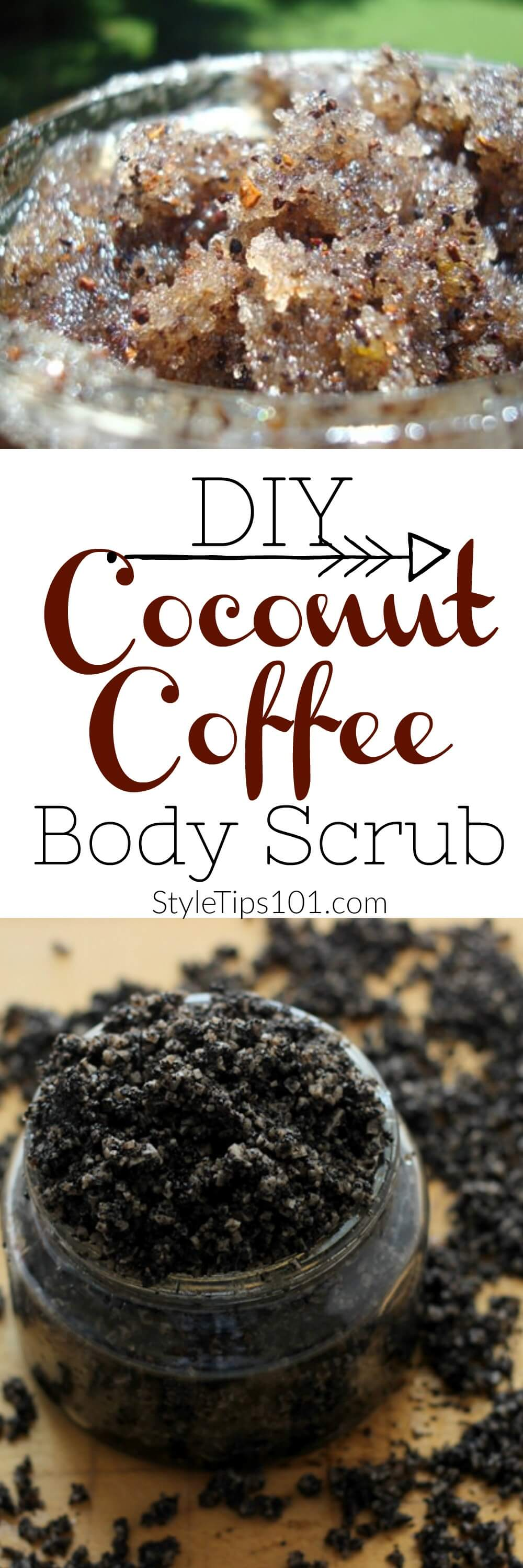 This coffee and coconut body scrub recipe uses all natural ingredients to give you a luxurious, but oh-so-cheap body scrub!