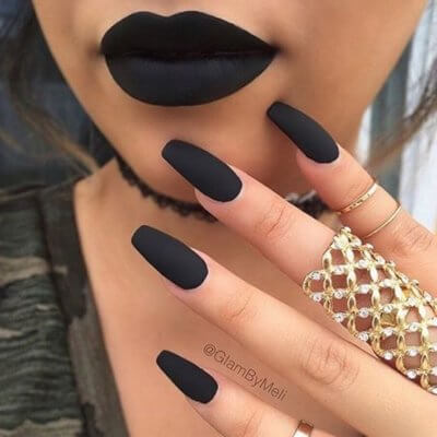 matte black nails - 16 Unique Matte Nail Designs