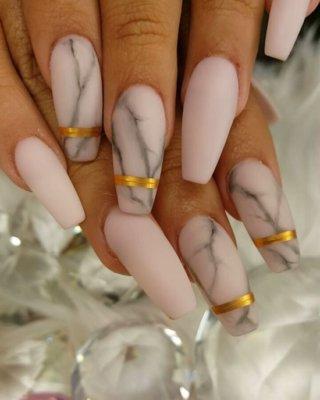 matte marble nails