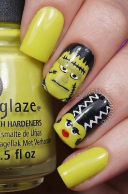 15 halloween nail art ideas frankenstein nails prinsesfo Image collections