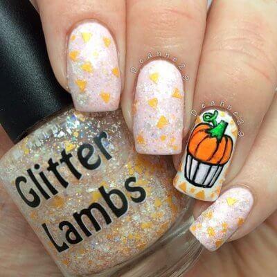 happy pumpkin nails