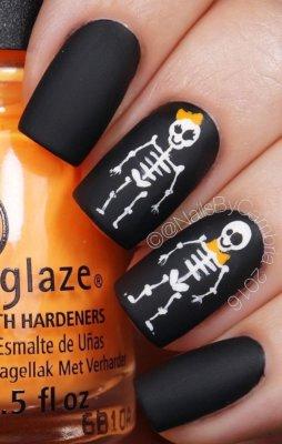 matte skeleton nails