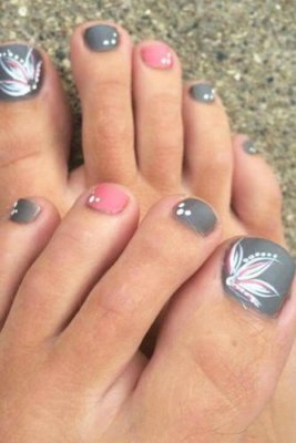 pink and gray pedicure designs