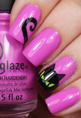 pink black cat nails