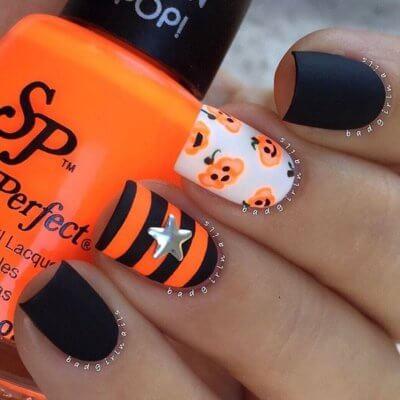 pumpkin matte nails