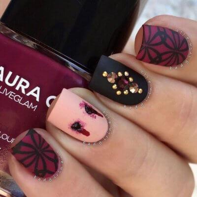 rhinestone halloween nails