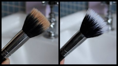 before and after brush cleaning