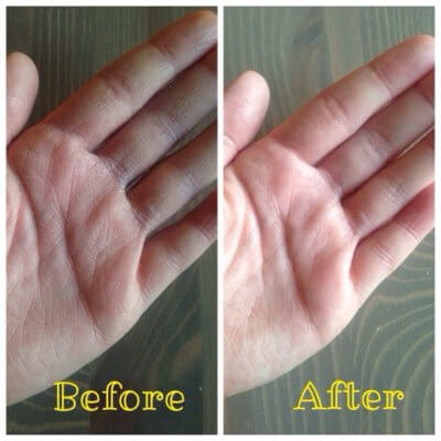 before and after dry hands