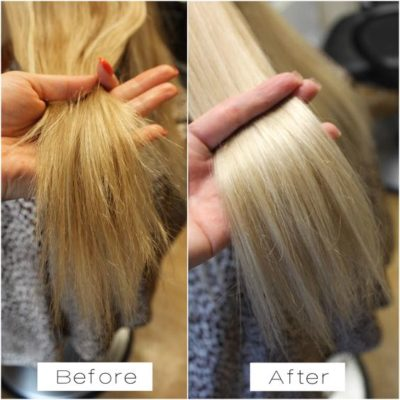 before and after damaged hair ends