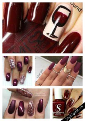 wine color nails