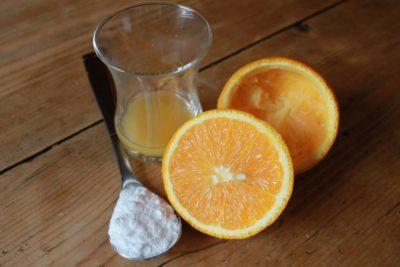 baking soda and orange juice