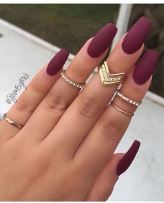matte wine nails