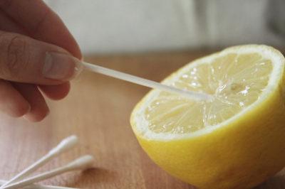lemon juice on q-tip