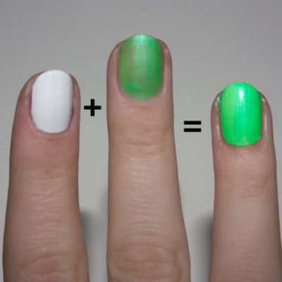 white nail polish to make colors pop