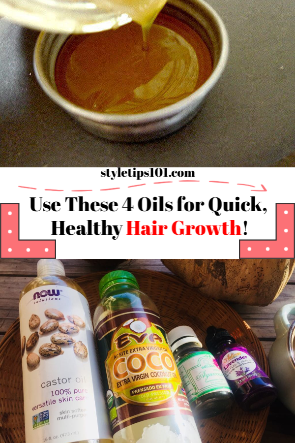 We love this hair growth oil recipe because it\'s SO easy to make (it\'ll literally take you 5 seconds to whip this up), and the results will be well worth it! #hairgrowth #hairgrowthoil #diybeauty