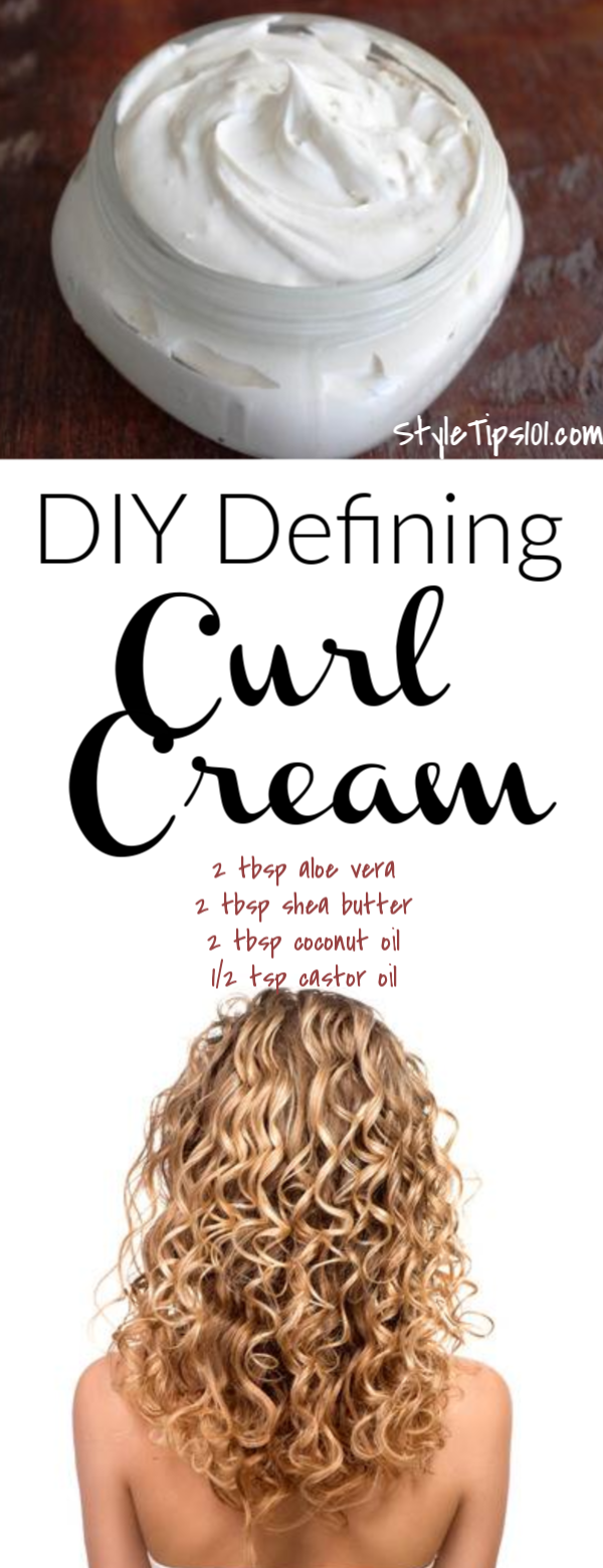 Made entirely out of natural ingredients, this sweet swelling homemade curl cream will tame wavy and curly hair, add definition to curls, tame flyaways and frizziness, and encourage healthy hair growth. #homemadecurlcream #diycurlcream #haircare