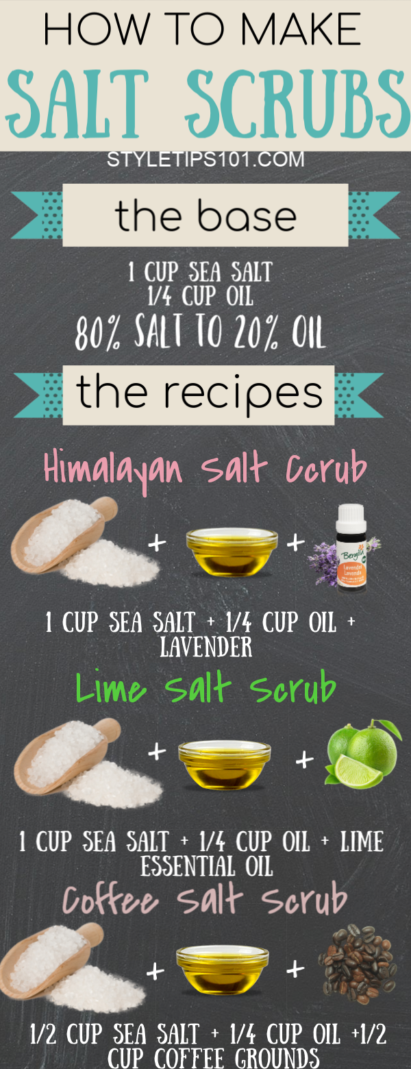 Today we'll show you how to make salt scrubs at home using any type of combination you wish. All you need is salt, oil, and your favorite essential oils to make something really amazing and skin softening! #diysaltscrub #homemadescrubs #diybeauty