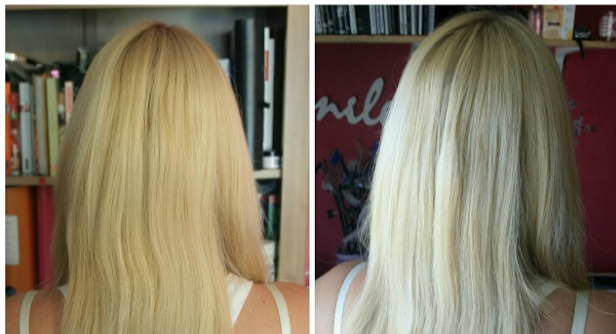 before and after hair lightening