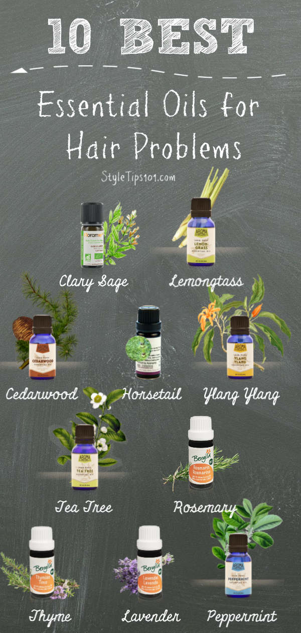 Slow growing, damaged, thin hair? We\'ve compiled our 10 favorite and best essential oils for hair problems! #bestessentialoilsforhair #hairgrowth