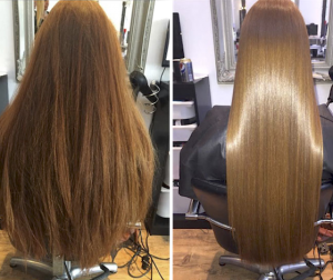 before and after dry hair