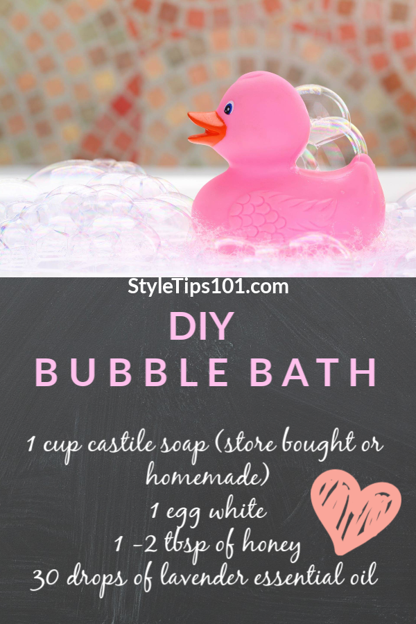 This DIY bubble bath recipe only requires 3 simple ingredients that will nourish your skin, soothe irritation, promote relaxation, and ease stress! #diybubblebath #diybeauty